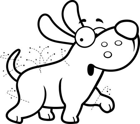 A cartoon illustration of a dog with fleas.