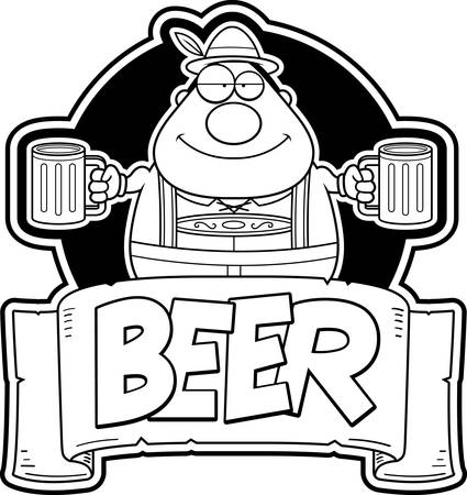 A cartoon illustration of a Oktoberfest man with two mugs of beer.