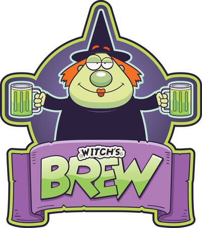 A cartoon illustration of a monk with two mugs of witch's brew. Standard-Bild - 115019770