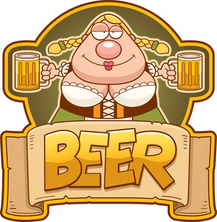 A cartoon illustration of a Oktoberfest woman with two mugs of beer.