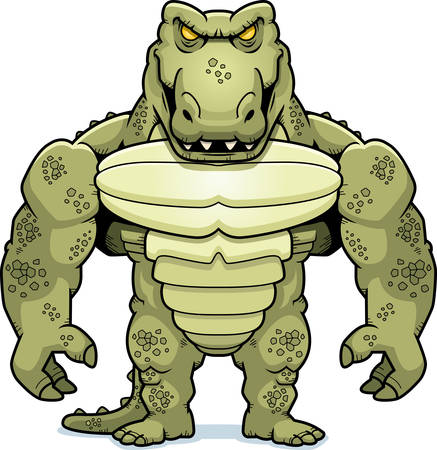 A cartoon illustration of a crocodile monster man.