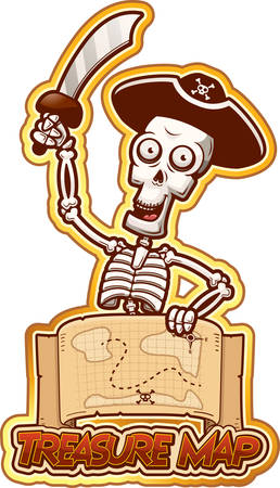 A cartoon illustration of a pirate skeleton with a treasure map.