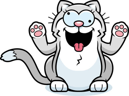 A cartoon illustration of a little cat smiling and looking crazy.