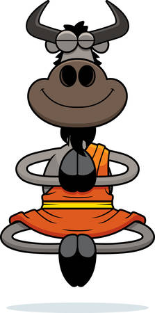 A cartoon illustration of a wildebeest monk smiling and meditating.