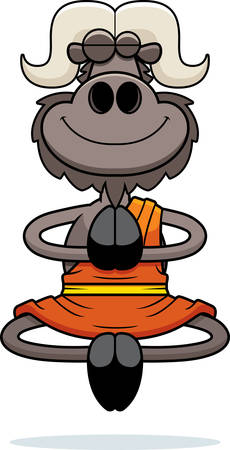 A cartoon illustration of an ox monk smiling and meditating.