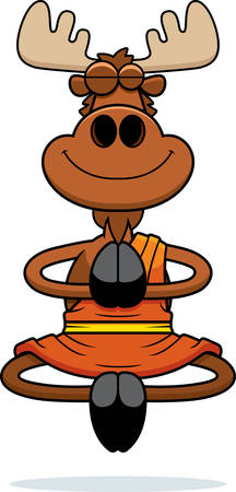 A cartoon illustration of a moose monk smiling and meditating. Ilustração