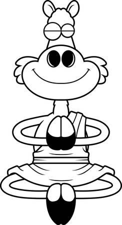 A cartoon illustration of a llama monk smiling and meditating. Standard-Bild - 112025750