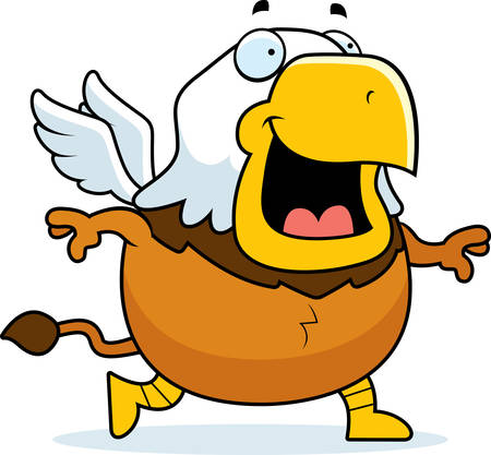 A cartoon illustration of a griffin walking and smiling.