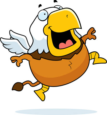 A cartoon illustration of a griffin jumping and smiling. Ilustrace