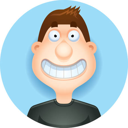 A cartoon illustration of a brunette man smiling  looking happy.