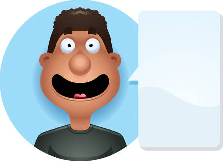 A cartoon illustration of a black man smiling  looking happy. Çizim