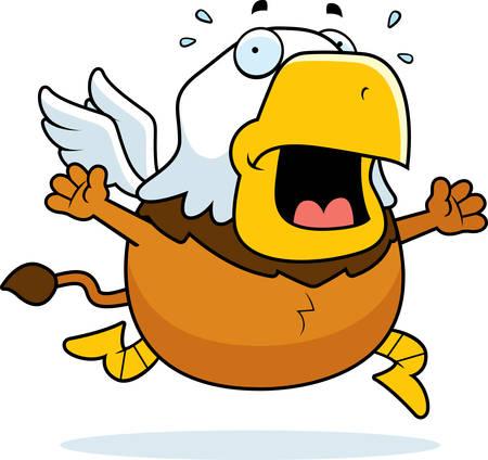 A cartoon illustration of a griffin running in a panic. Ilustração