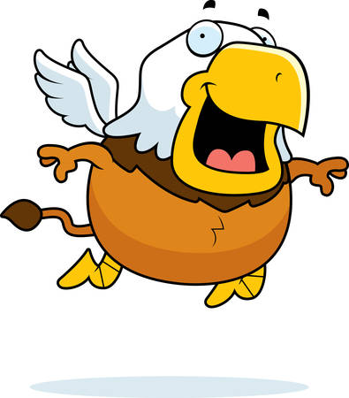 A cartoon illustration of a griffin flying and smiling. Illustration