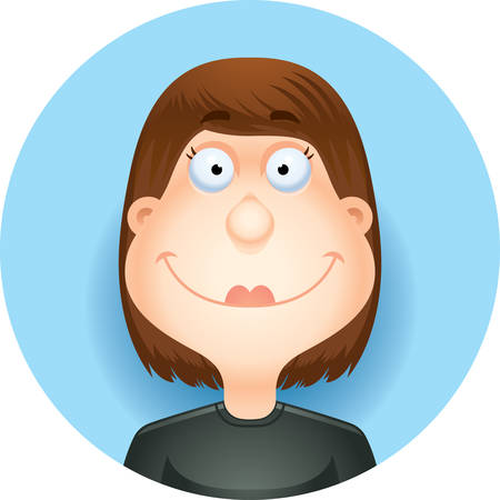 A cartoon illustration of a brunette woman smiling  looking happy.