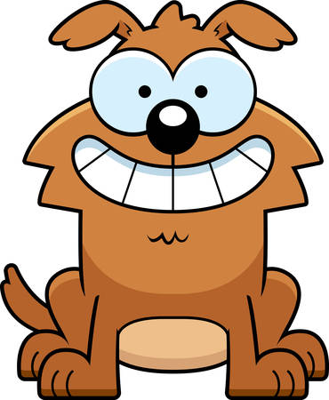 A cartoon illustration of a dog looking happy.