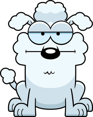 A cartoon illustration of a little poodle looking calm. Vettoriali