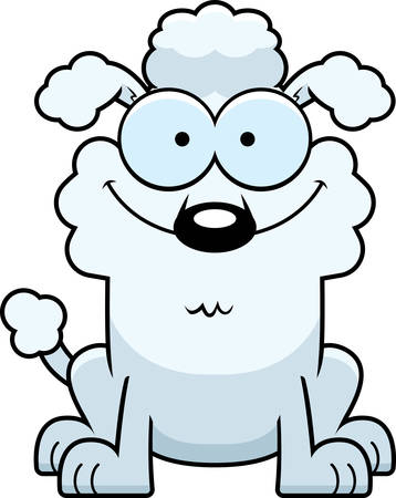 A cartoon illustration of a little poodle smiling. Vettoriali