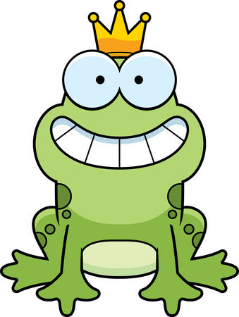 A cartoon frog prince smiling and happy.