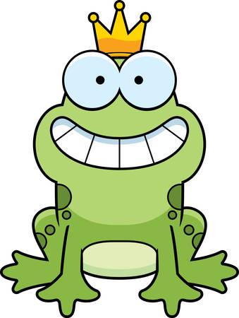 Een cartoon kikkerprins glimlachend en gelukkig.