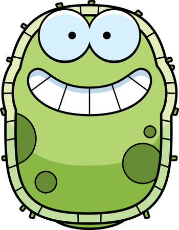 A cartoon illustration of a germ looking happy. Çizim