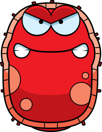 A cartoon illustration of a red blood cell looking angry. Çizim