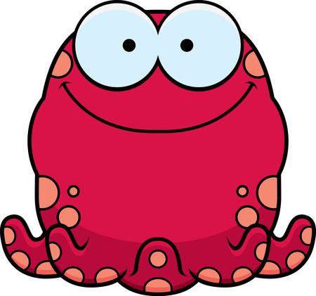 A cartoon illustration of a octopus smiling.