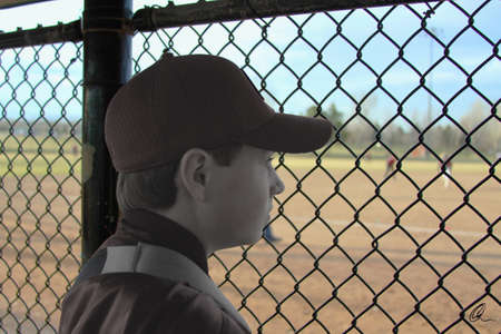 persona triste: Jugador de b�isbol baja por lesi�n Foto de archivo