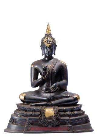 moulded: moldeado la figura de Buda en el fondo aislado Foto de archivo
