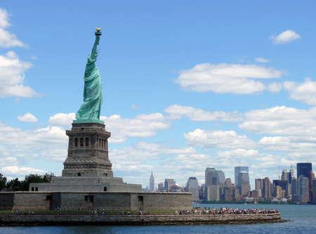 Miss Libertys view to Manhattan Stock Photo