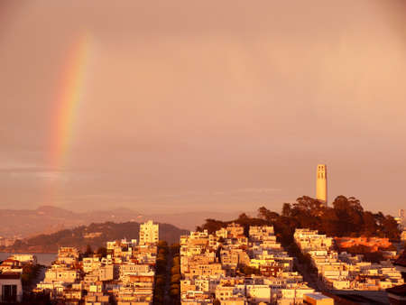 San Franciscos Coit Tower with rainbow Stock Photo