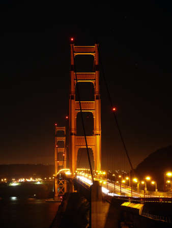 bulp: Golden Gate traffic at night Stock Photo