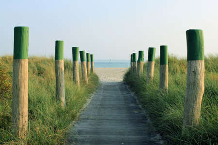 wooden way to the beach Stock Photo