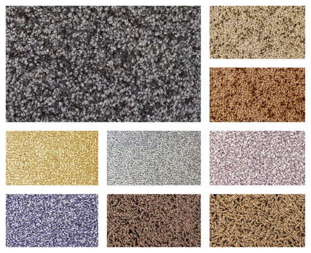 floor coverings: color variations of different types of carpets and floor coverings
