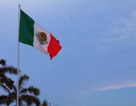カリブ海風になびかせてプールの高いメキシコの旗の写真。 写真素材