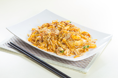 fried thick noodles Stock Photo