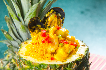 A photo of pineapple fried rice