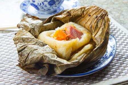 A photo of lotus leaf rice