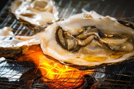 Een foto van gegrilde oester Stockfoto