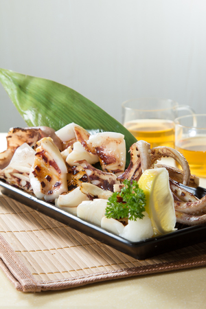 A photo of grilled squid Stock Photo
