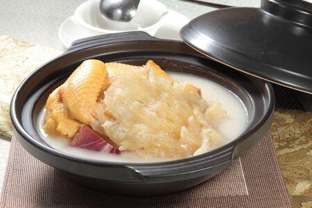 A cuisine photo of chicken shark fin casserole