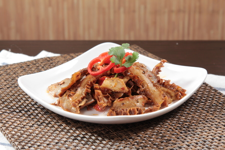 A cuisine photo of beef intestine