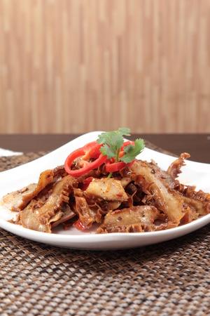 A cuisine photo of beef intestine