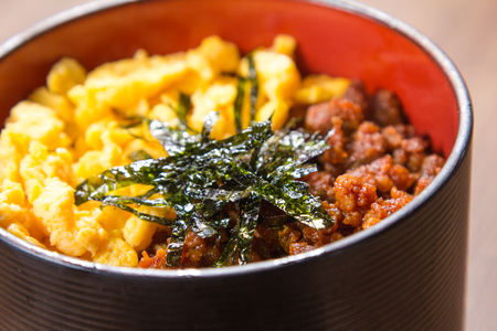 rou: A cuisine photo of pork egg rice Stock Photo