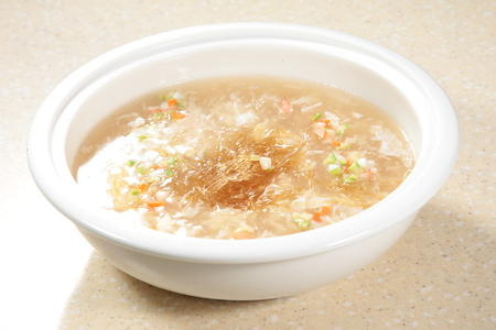 A cuisine photo of shark fin broth