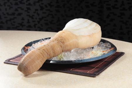 A cuisine photo of raw geoduck