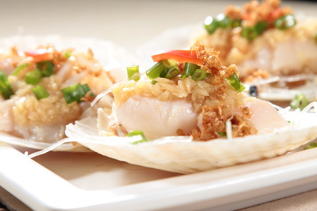sea fans: A cuisine photo of steamed scallop