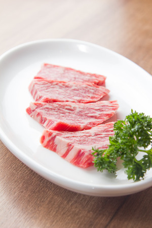 A cuisine photo of raw beef Stock Photo