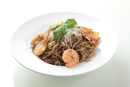 cooked rice: A cuisine photo of Shrimp soba Stock Photo