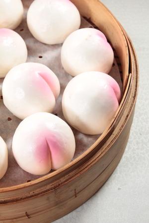 longevity: A cuisine photo of steamed birthday bun