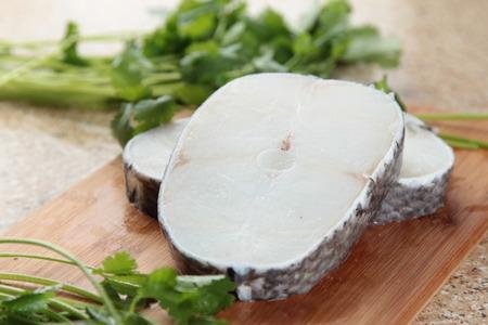 Een keukenfoto van kabeljauwfilet Stockfoto